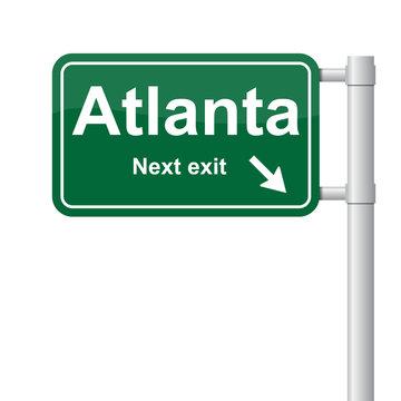 Atlanta next exit green signal vector