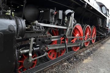 "Part of a historic steam locomotive ""Slechticna"" (noblewoman)."