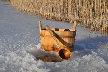 Accessories for Russian bath near ice hole