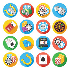 Round vector flat icons set. Poker icons concept