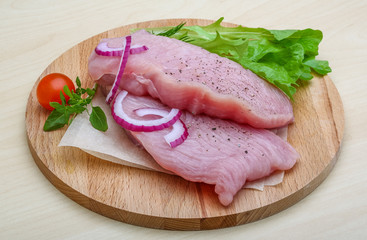 Raw turkey steak