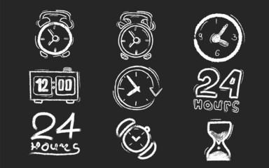 Chalk board with different types of clocks.