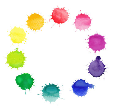 Vector round frame made of watercolor rainbow blobs drops.