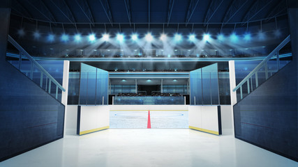 hockey stadium with open doors leading to ice