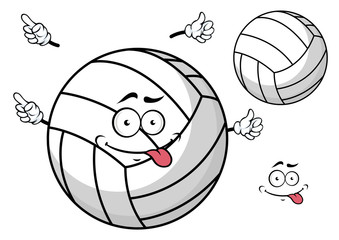 Cartooned volleyball ball with cute face and hands