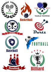 Set of sports tournament emblems and badges