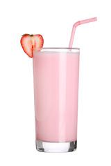Acrylic Prints Milkshake milkshakes strawberry flavor ice cream isolated on white backgro