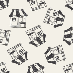 shop store doodle drawing seamless pattern background