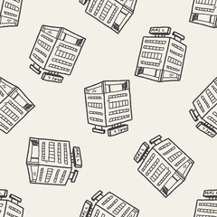 shop mall doodle drawing seamless pattern background