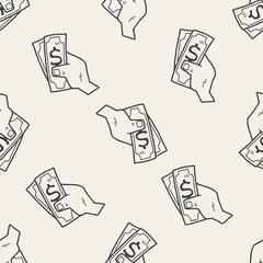 money doodle drawing seamless pattern background