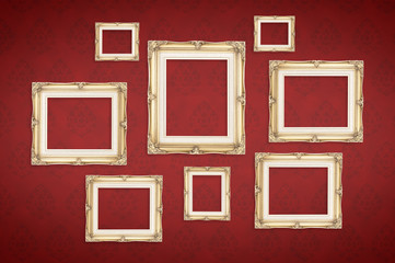 Vintage photo frames with Thai pattern at red background,Templat