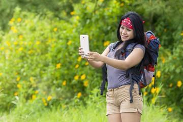 Hiker taking selfie photo