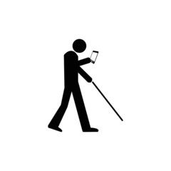 Man using smartphone or tablet mixed with blind sign