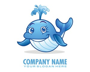 little whale character image vector
