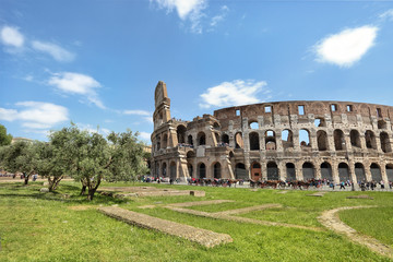 The ancient Colosseum in Rome on a beautiful sunny day