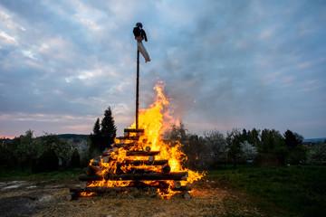 big walpurgis night fire with witch