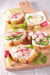 canape with cheese,radish and cucumber