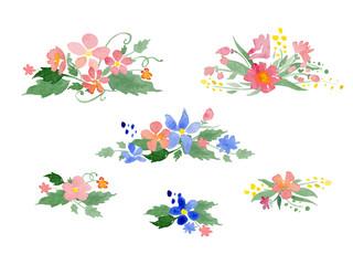Vector watercolor floral bouquets