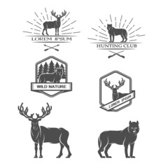 Deer and wolf. Posters, labels, emblem.