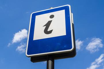 Information sign on blue sky