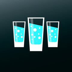Glass of water symbol. Flat icon with long shadow.