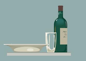 Still life. alcoholic life. Vector