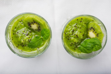 Smoothie with kiwi and mint