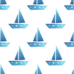 Vector boats seamless sea summer pattern