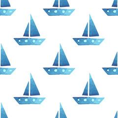 Vector boats seamless sea summer pattern
