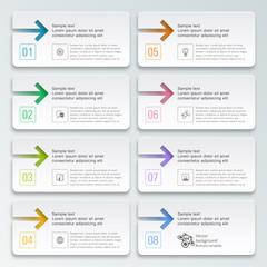 Infographics Vector Arrow Buttons, 8-Step