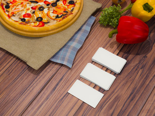 Mock up template pizza on a wooden table.