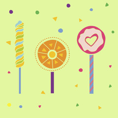 Lollipops flat illustration for holiday design. Sweetie elements set. Love concept. Vector sweet illustrations. Bright sweet color. Sweet Dessert on light green background. Candy drawings.