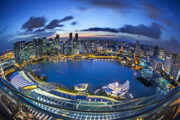 Panorama of Singapore from Marina Bay hotel, in the night.