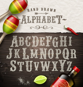 Hand drawn vintage alphabet - old mexican signboard style font