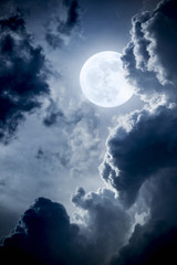 Dramatic Nighttime Clouds and Sky With Beautiful Full Blue Moon