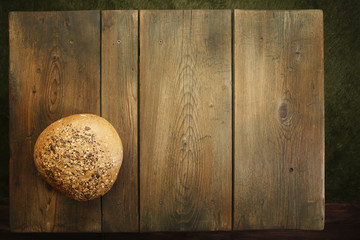 Bread on wooden kitchen table