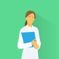 Medical Doctor Profile Icon Female with Folder Portrait