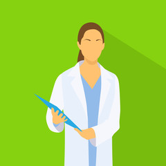 Medical Doctor Profile Icon Female with Folder