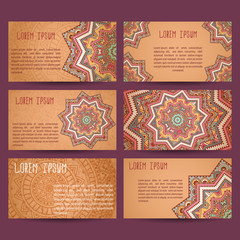 Set of business cards samples. Patterns of ancient America.