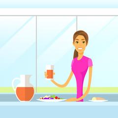 Woman Drink Juice Sitting at Kitchen Morning Having