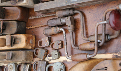 hand drill old rusty padlocks and planers in the stand of flea m