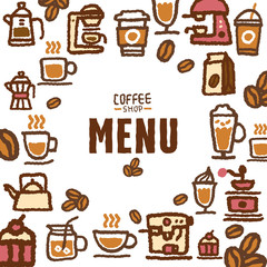 Menu for cafe and coffee shop, vector illustration