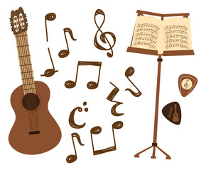 classic guitar and music note