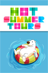 Funny cartoon web banner for travel agency with polar bear