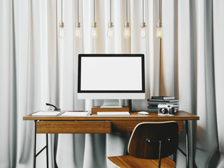 Classic workspace with white blinds on the background. 3D
