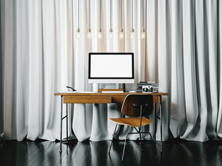 Workspace with white blinds on the background. 3D rendering