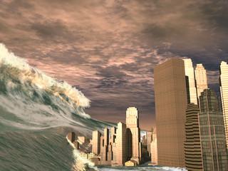 Tsunami arrasando una ciudad