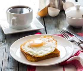 crispy toast with a fried egg and a cup of coffee. breakfast