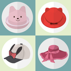 Collection of Hat icons set great for any use. Vector EPS10.