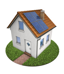 House small with solar panel